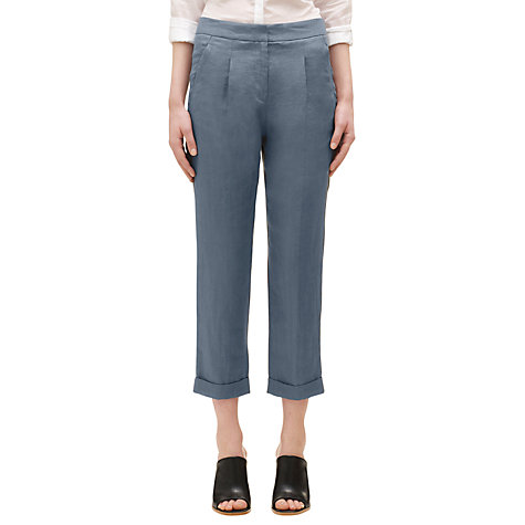 Buy Whistles Alma Linen Trousers, Grey Online at johnlewis.com