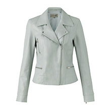 Buy Jigsaw Soft Leather Biker Jacket, Pale Blue Online at johnlewis.com