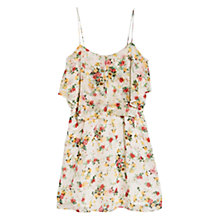 Buy Mango Ruffled Floral Printed Dress, Natural White Online at johnlewis.com