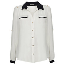 Buy Oasis Bianca Roll Sleeve Shirt, Multi White Online at johnlewis.com