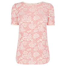 Buy Oasis Two Tone Lace Tee, Multi Pink Online at johnlewis.com