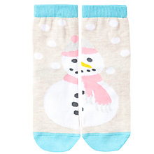 Buy John Lewis Girl Snowman Ankle Socks, Cream/Blue Online at johnlewis.com