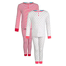 Buy John Lewis Girl Mini Heart Slim Fit Pyjamas, Pack of 2, White Online at johnlewis.com