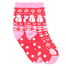Buy John Lewis Girl Snowman Fair Isle Slipper Socks, Red/Pink Online at johnlewis.com