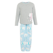 Buy John Lewis Girl Polar Bear Pyjamas, Aqua Online at johnlewis.com