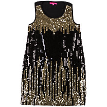 Buy Derhy Kids Girls' Lily Rose Mes Sequin Dress, Black/Gold Online at johnlewis.com
