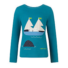 Buy Donna Wilson for John Lewis Boys' Owl & Cat T-Shirt, Blue Online at johnlewis.com