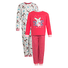 Buy John Lewis Girl Reindeer Pyjamas, Pack of 2, Red Online at johnlewis.com