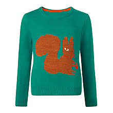 Buy Donna Wilson for John Lewis Girls' Knit Squirrel Jumper, Green Online at johnlewis.com