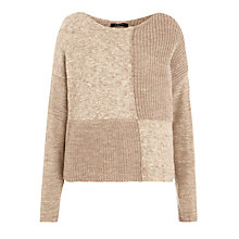 Buy Crea Concept Knitted Patchwork Pullover, Camel Online at johnlewis.com
