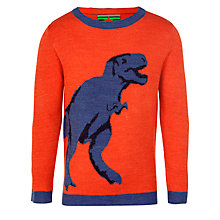 Buy John Lewis Boy Dinosaur Jumper, Orange/Blue Online at johnlewis.com