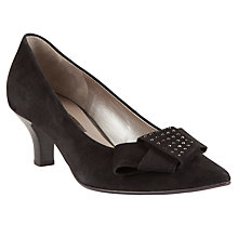Buy Gabor Linzi Pointed Bow Detail Suede Shoes, Black Online at johnlewis.com