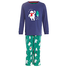 Buy John Lewis Boy Yeti Pyjamas, Green/Navy Online at johnlewis.com