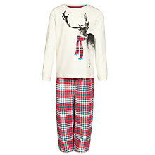 Buy John Lewis Boy Reindeer Check Pyjamas, Cream/Multi Online at johnlewis.com