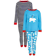 Buy John Lewis Boy Polar Bear Pyjamas, Pack of 2, Blue/Multi Online at johnlewis.com