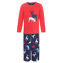 Buy John Lewis Boy Reindeer Pyjamas, Red/Navy Online at johnlewis.com