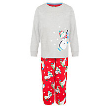 Buy John Lewis Boy Snowboarding Snowman Pyjamas, Grey/Red Online at johnlewis.com