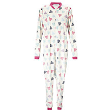Buy John Lewis Heart Print Fleece Onesie, Ivory Online at johnlewis.com