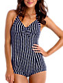 Seafolly Coastline Retro Maillot Swimsuit, Navy