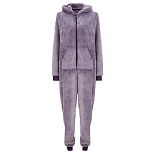 Buy John Lewis Tipped Fleece Onesie, Purple Online at johnlewis.com