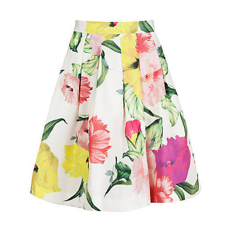 Buy Ted Baker Muirin Floral Print Skirt, Cream Online at johnlewis.com