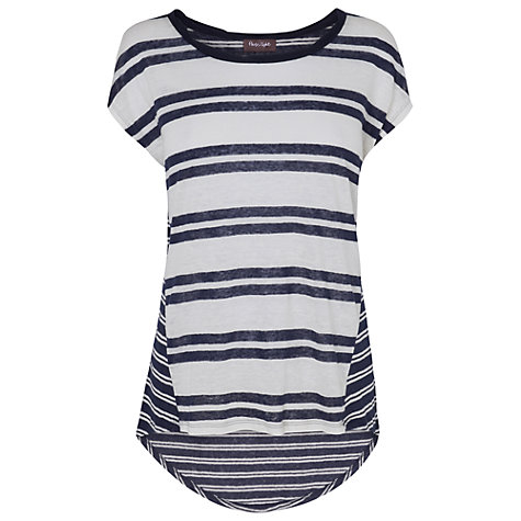 Buy Phase Eight Gemma Linen Top, Navy/White Online at johnlewis.com