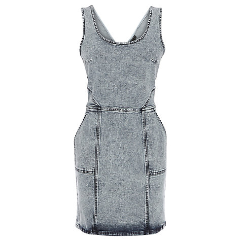 Buy Warehouse Cut Out Back Bodycon Dress, Bleach Denim Online at johnlewis.com