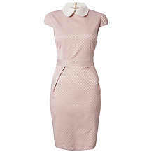 Buy Almari Embellished Collar Spot Dress, Pale Pink Online at johnlewis.com
