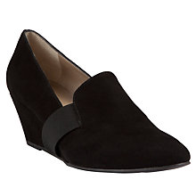 Buy John Lewis Tennessee Wedged Suede Court Shoes, Black Online at johnlewis.com