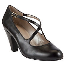 Buy John Lewis Dante Cross Over Strap Court Leather Shoes, Black Online at johnlewis.com