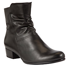Buy Gabor Jensen Leather Ruched Ankle Boots, Black Online at johnlewis.com