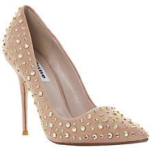 Buy Dune Bethanie Pointed High Heel Leather Court Shoes,Nude Online at johnlewis.com