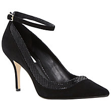 Buy Dune Antonia Ankle Strap Court Shoes, Black Suede Online at johnlewis.com