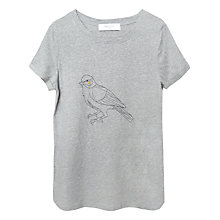 Buy Paisie Bird Print Embroidery T-Shirt, Grey Online at johnlewis.com