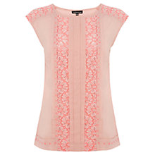Buy Warehouse Fluro Lace Insert Panel Top, Light Pink Online at johnlewis.com