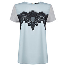 Buy Warehouse Scallop Lace Jersey Mix T-Shirt, Mint Online at johnlewis.com