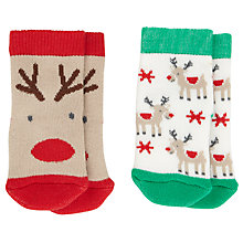 Buy John Lewis Reindeer Christmas Socks, Pack of 2, Multi Online at johnlewis.com