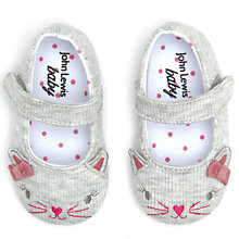 Buy John Lewis Baby Mary Jane Cat Plimsolls, Grey Online at johnlewis.com
