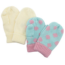 Buy John Lewis Spot and Plain Mittens, Pack of 2, Multi Online at johnlewis.com