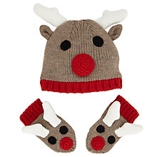 Buy John Lewis Reindeer Hat and Mittens, Brown/Red Online at johnlewis.com