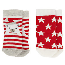 Buy John Lewis Polar Bear and Star Christmas Socks, Pack of 2, Red/White Online at johnlewis.com
