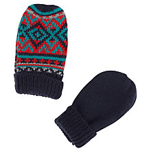 Buy John Lewis Fair Isle Mittens, Pack of 2, Black/Multi Online at johnlewis.com