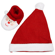 Buy John Lewis Santa Hat and Matching Booties, Red/White Online at johnlewis.com