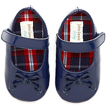 Buy John Lewis Baby Bow Patent Booties, Navy Online at johnlewis.com