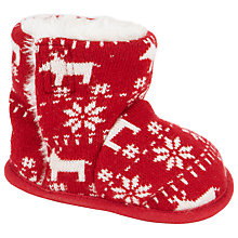 Buy John Lewis Fair Isle Knit Booties, Red Online at johnlewis.com