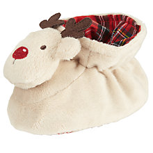 Buy John Lewis Reindeer Rattle Bootie Slippers, Cream/Brown Online at johnlewis.com