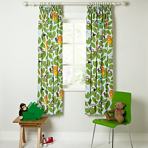 Buy little home at john lewis animal fun pencil pleat for Childrens jungle fabric