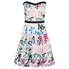 Buy Warehouse Butterfly Print Bandeau Dress, Multi Online at johnlewis.com