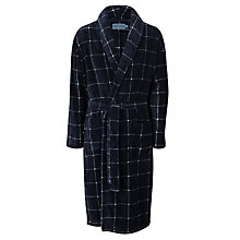 Buy John Lewis Printed Check Fleece Robe, Navy Online at johnlewis.com