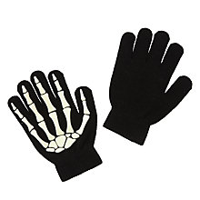 Buy John Lewis Boy Glow In The Dark Skeleton Gloves, Black Online at johnlewis.com
